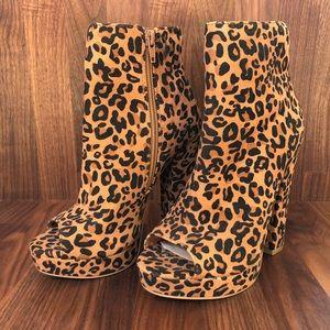 Leopard open toes Booties